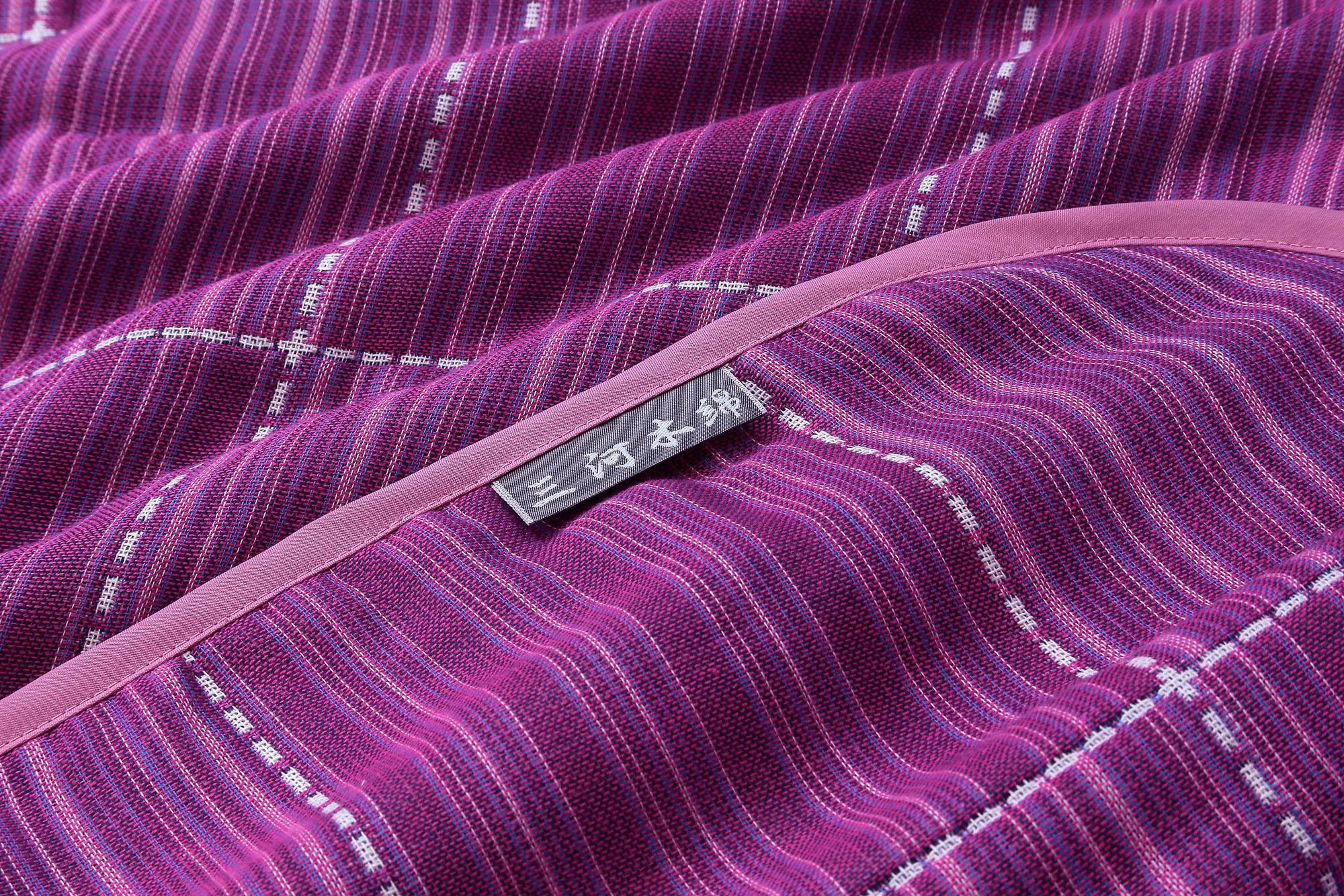 ภาพซูมเนื้อผ้าห่ม Mikawa purple