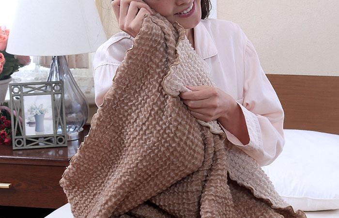 ผ้าห่มขนอูฐ camel & organic cotton สัมผัสนุ่มสบาย
