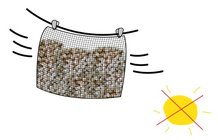 วิธีการทำความสะอาดหมอน made to order ขั้นตอนที่ 3 นำไปผึ่งในที่ร่มมีลมโกรก